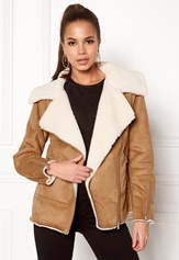 New Look Vally Shearling Biker Tan Bubbleroom.se
