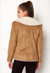 New Look Vally Shearling Biker Tan