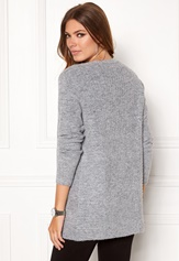 OBJECT Nonsia Rib Knit Cardigan Light Grey Melange