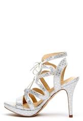 SARGOSSA Chic Pattern Leather Heels Silver