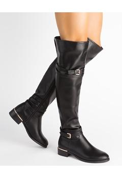 Glossy Overknee støvler, Alexandra Sort Bubbleroom.dk