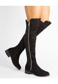 Glossy Overknee støvler, Cindy Sort Bubbleroom.dk