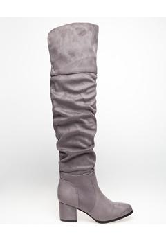 Glossy Overknee støvler, Polly Grå Bubbleroom.dk