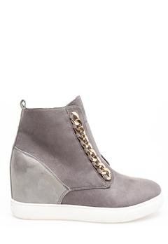 Glossy Sneakers med kilklack, Antonia Grå Bubbleroom.se