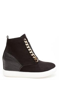 Glossy Sneakers med kilklack, Antonia Svart Bubbleroom.se