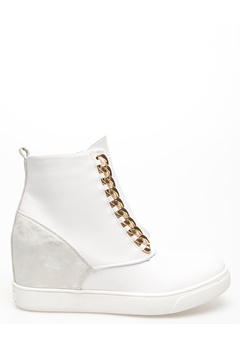 Glossy Sneakers med kilklack, Antonia Vit Bubbleroom.se
