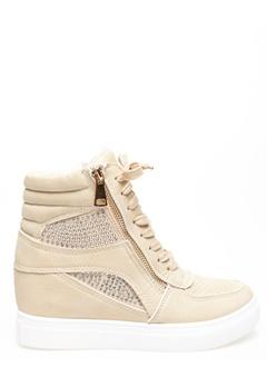 Glossy Sneakers med kilehæl, Terese Beige Bubbleroom.dk