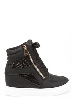 Glossy Sneakers med kilehæl, Terese Sort Bubbleroom.dk