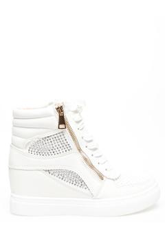Glossy Sneakers med kilehæl, Terese Hvit Bubbleroom.no