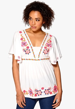 Mixed from Italy Embroidered Kimono Top White Bubbleroom.no