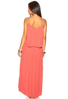 VILA Longing maxi dress Sunkist Coral Bubbleroom.no