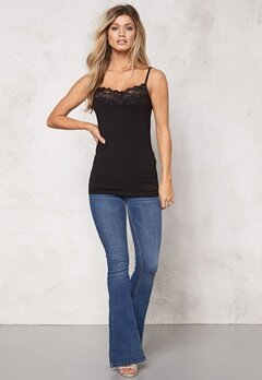 VILA Officiel Lace Strap Top Black Bubbleroom.se