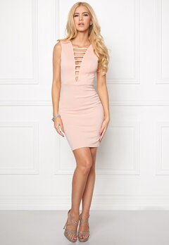 Goddiva Plunge Mini Dress Nude Bubbleroom.se