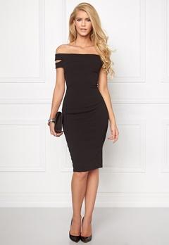 Goddiva Double Bardot Midi Dress Black Bubbleroom.se