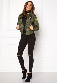 Sisters Point Lusa Patch Bomber Jacket Olive Green Bubbleroom.no