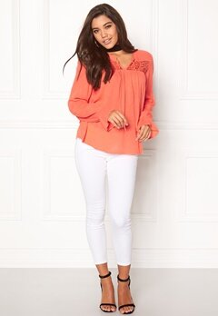 VILA Dora l/s Top Persimmon Bubbleroom.no