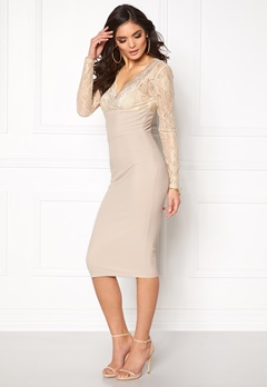 Girl In Mind Lace Bodycon Dress Champagne Bubbleroom.se