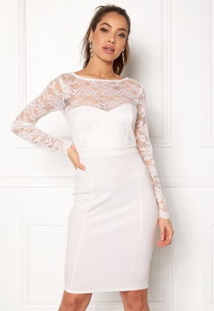 Goddiva Bardot Midi Dress Bow White Bubbleroom.se