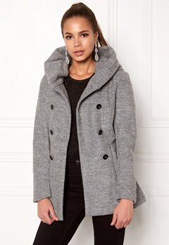 ONLY mary lisa short wool coat Light Grey Melange Bubbleroom.se