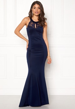 Goddiva Open Back Lace Maxi Navy Bubbleroom.se
