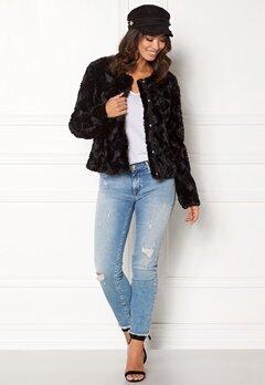 VERO MODA Curl Short Fake Fur Jacket Black Bubbleroom.no