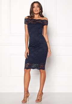 Goddiva Bardot Lace Midi Dress Navy Bubbleroom.no