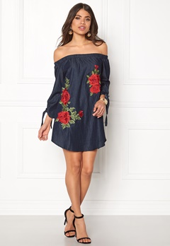 AX Paris Printed 3/4 Sleeve Dress Blue Bubbleroom.dk