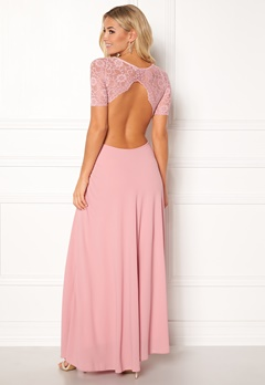 John Zack Open Back Lace Maxi Dress Rose Bubbleroom.dk
