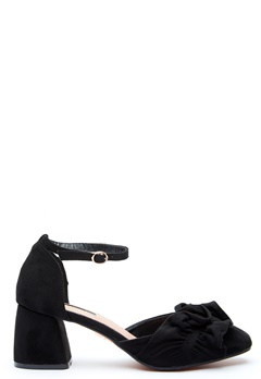 LOST INK Annie Ruffle F-Block Heel Black Bubbleroom.se