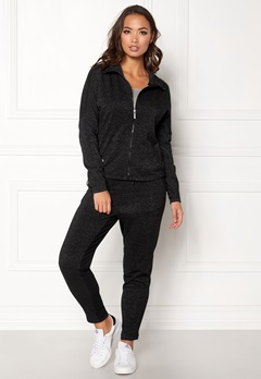 ONLY PLAY Zira Glitter Zip Sweat Black Silver Bubbleroom.eu