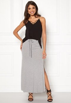 VILA Deana Maxi Skirt Light Grey Melange Bubbleroom.se