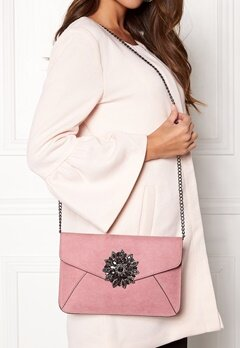 New Look Brooch Envelope Clutch Shell Pink Bubbleroom.se