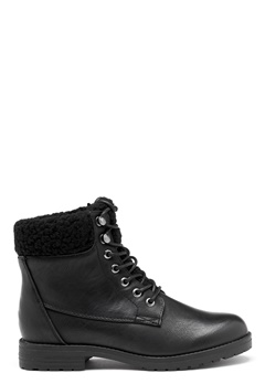 New Look PU Shearling Lace up Boot Black Bubbleroom.fi