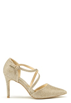 New Look Shimmer Cross Strap Heel Gold Bubbleroom.se