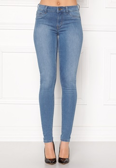 Pieces Shape-Up MW Jeggings Light Blue Denim Bubbleroom.se