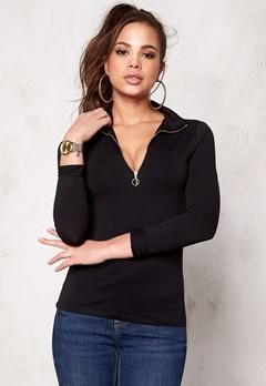 77thFLEA Faye zip  Roll neck sweater Black Bubbleroom.eu