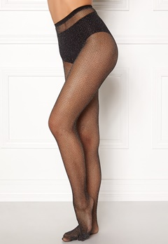 77thFLEA Sparkling net tights Black / Silver Bubbleroom.se