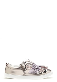 LOST INK Nash Ruffle Slip-On Shoes Pewter Bubbleroom.se