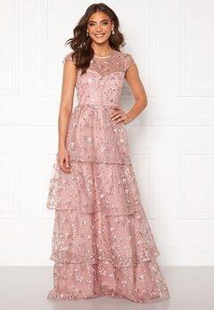 Alexandra Nilsson X Bubbleroom Flounced gown Dark heather pink Bubbleroom.se