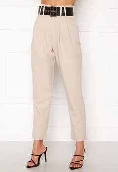 Alexandra Nilsson X Bubbleroom Super highwaisted suit trousers Beige Bubbleroom.se