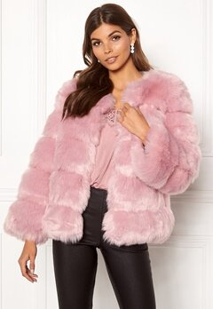 AMO Couture Dusk Faux Fur Short Coat Dusky Pink Bubbleroom.se