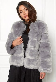 AMO Couture Dusk Faux Fur Short Coat Pewter Bubbleroom.se