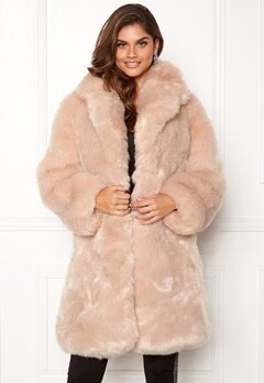 AMO Couture Imperial Faux Fur Long Coat Softy Beige Bubbleroom.se