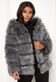 AMO Couture Roma Faux Fur Hood Coat Silver Fox Bubbleroom.se