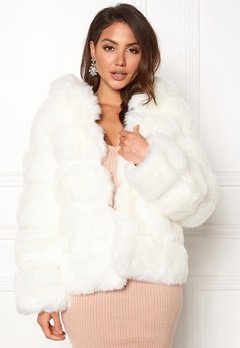 AMO Couture Roma Faux Fur Short Coat Pure White Bubbleroom.se