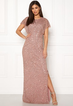 AngelEye Allover Sequin Maxi Dress Rose gold Bubbleroom.se