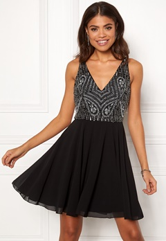 AngelEye Embellished Skater Dress Black Bubbleroom.eu