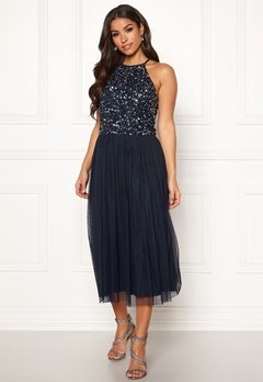 AngelEye High Neck Sequin Midi Dress Navy Bubbleroom.se