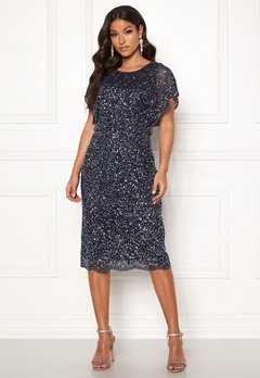 AngelEye Scallop Sequin Midi Dress Navy Bubbleroom.se
