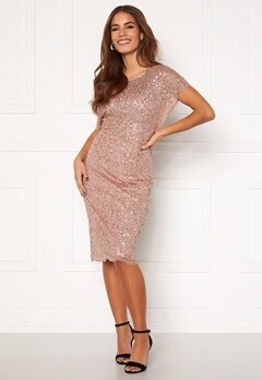 AngelEye Scallop Sequin Midi Dress Rose Gold Bubbleroom.se